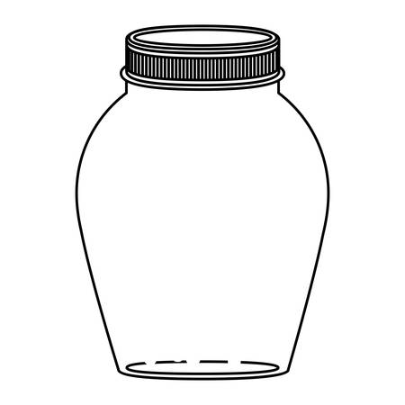 hip flask: silhouette rounded glass container with lid vector illustration Illustration