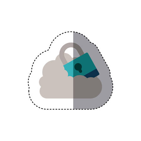 sticker padlock with shackle into the cloud . Vector illustration Illustration