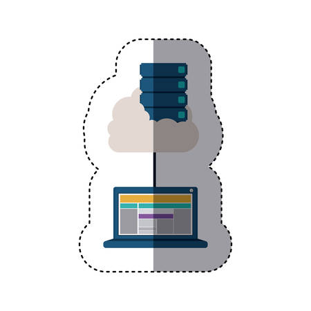 sticker with file cabinet into the cloud connect to tech laptop vector illustration