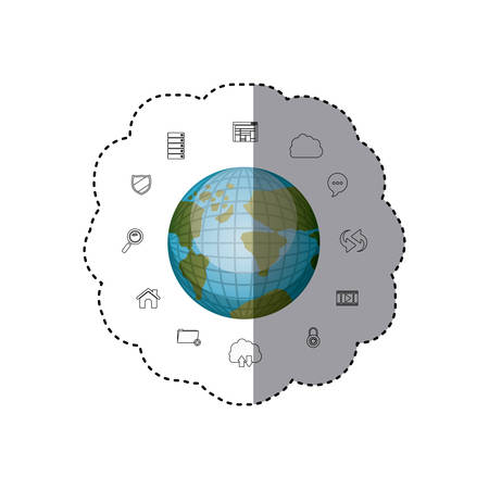 sticker set collection office tecnology with earth map world vector illustration Illustration