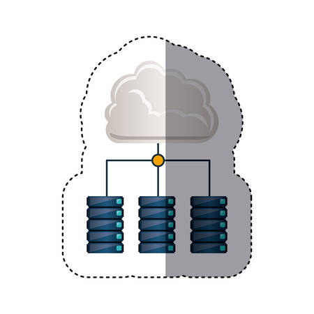 cabinets: sticker cloud connect to file cabinets vector illustration