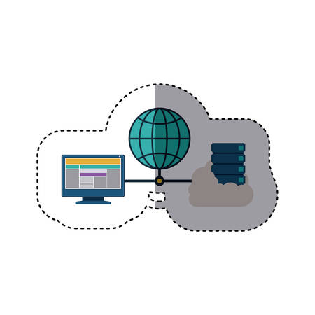 blue sphere with connect to laptop and file inside cloud vector illustration