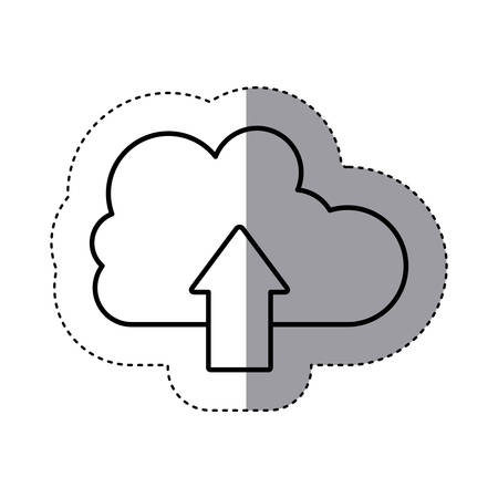 sticker silhouette cloud with arrow in up direction . Vector illustration Illustration