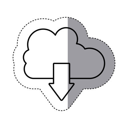 sticker silhouette cloud with arrow in down direction . Vector illustration