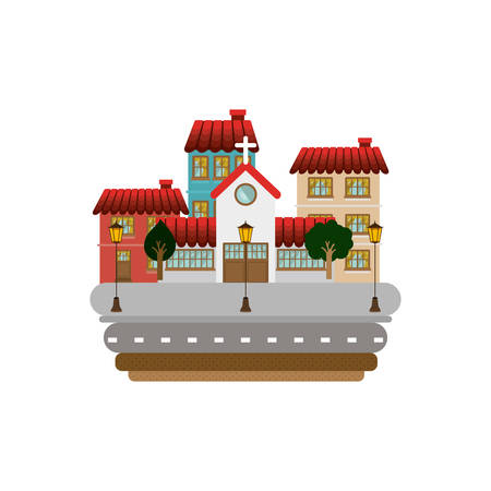 colorful facade buildings in street with church vector illustration