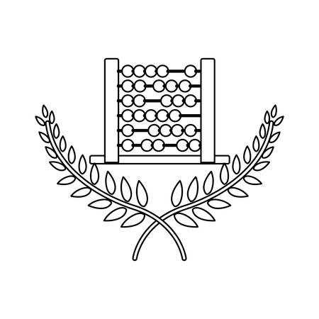 contour monochrome avec des branches croisées avec des feuilles et illustration vectorielle de boulier