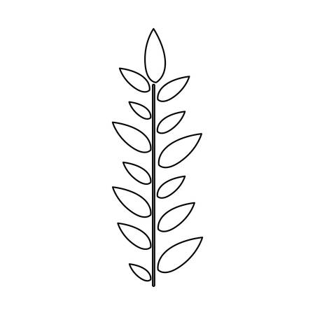 monochrome contour with sheet with branch with leaves vertically centered vector illustration