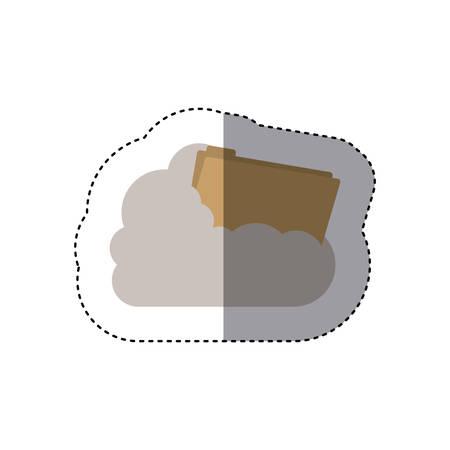 cumulus cloud: sticker folder into the cumulus cloud vector illustration