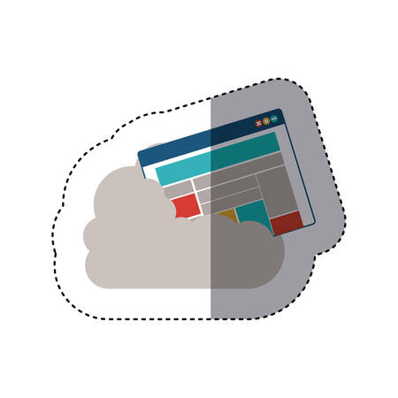 cumulus cloud: sticker window with rows and columns into the cumulus cloud vector illustration