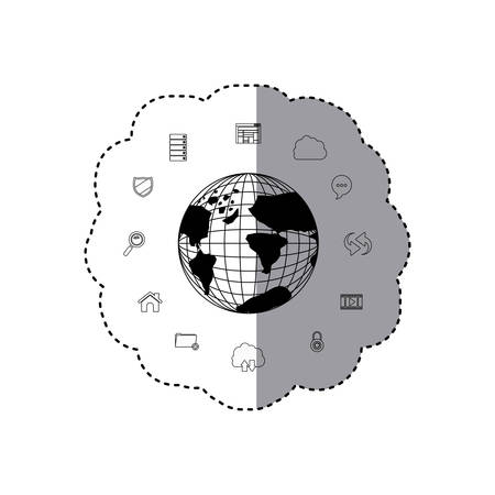 monochrome silhouette sticker set collection office tecnology with earth map world . Vector illustration