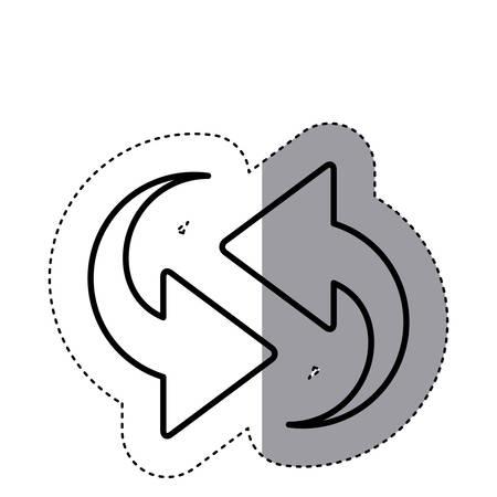 opposite: sticker silhouette arrows update in opposite directions vector illustration