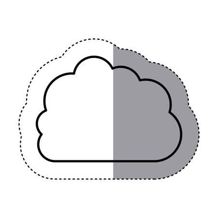 sticker contour cloud in cumulus shape vector illustration