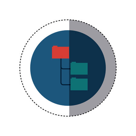 record office: colorful sticker circular border with folders organized in line vector illustration