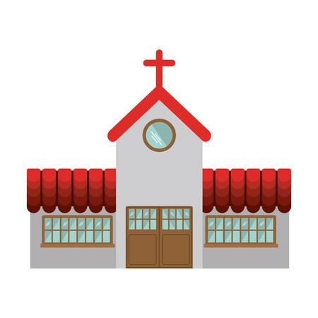 colorful facade church icon design vector illustration