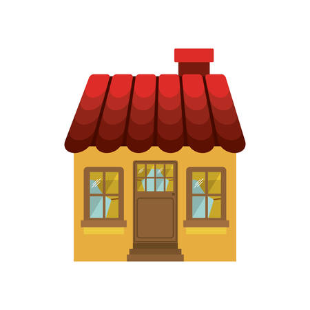 small house with chimney and roof vector illustration Illustration