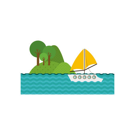 seacoast: landscape forest background with lake and yacht . Vector illustration