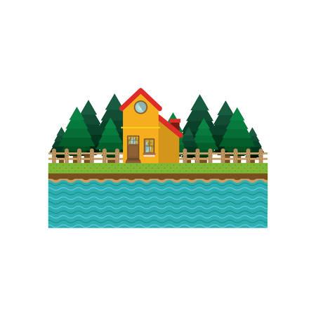 landscape forest background with house vector illustration Illustration