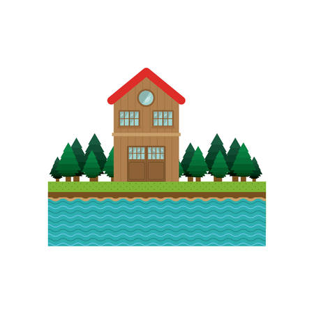 landscape forest background with house with two floors vector illustration Illustration