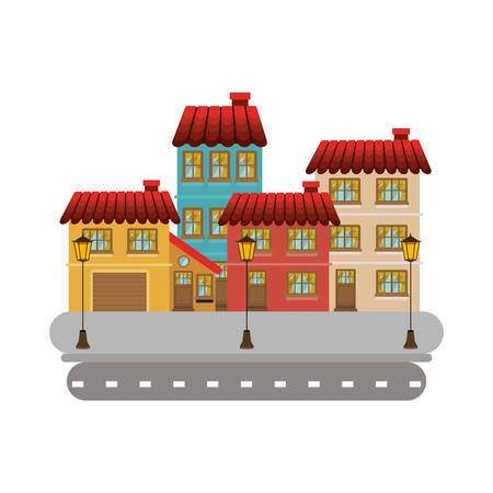 colorful facade buildings in street with lamppost vector illustration