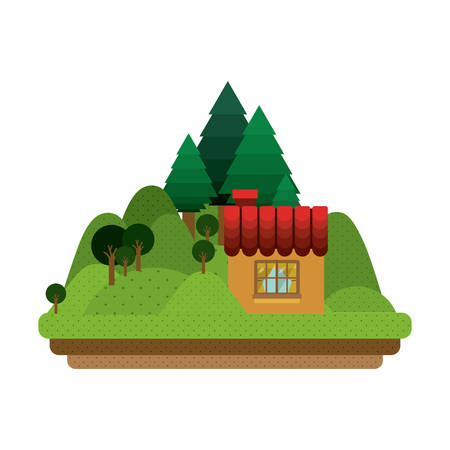 comfortable: landscape forest with confortable room with window vector illustration