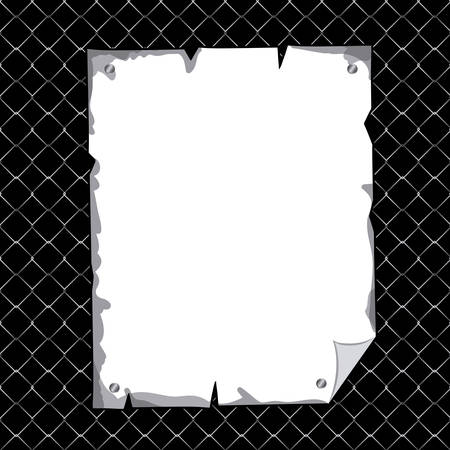 torn metal: vertical torn sheet in blank over black texture background vector illustration