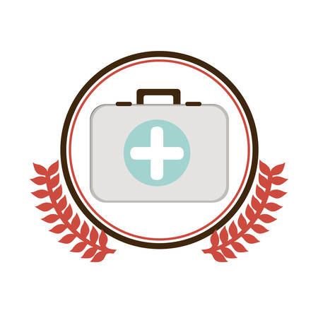 circular border with ornament leaves with Kit first aid in box icon vector illustration