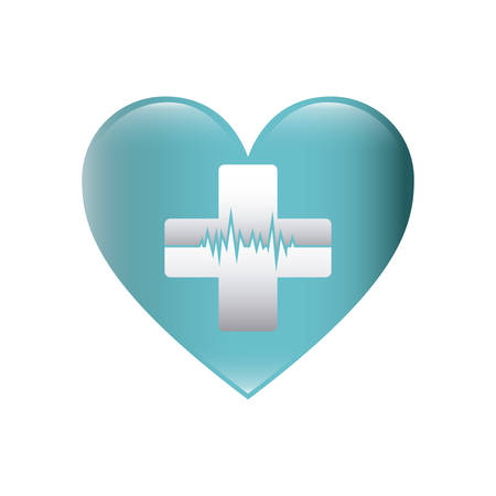 cardiograph: color silhouette with heart with cross with line of vital sign vector illustration Illustration