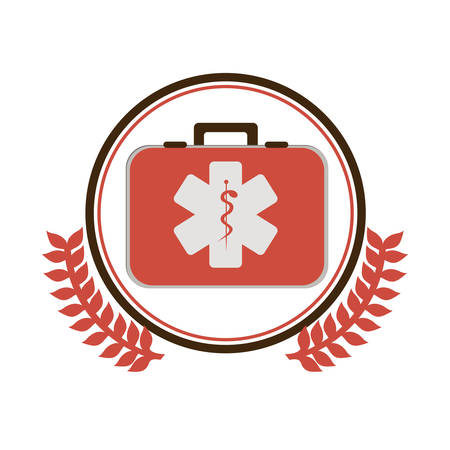 antiseptic: circular border with ornament leaves with first aid kit with health symbol with serpent entwine vector illustration