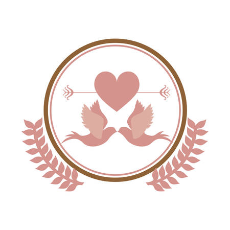 flying kiss: pink circular border with olive branch and pigeons in love vector illustration