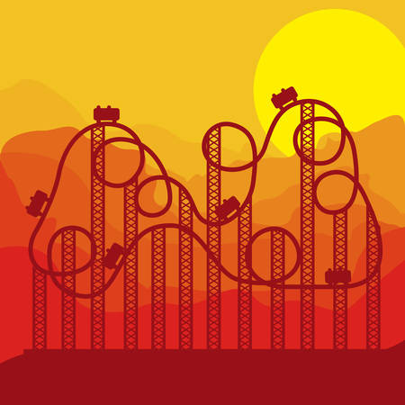 background roller coaster in amusement park vector illustration Illustration