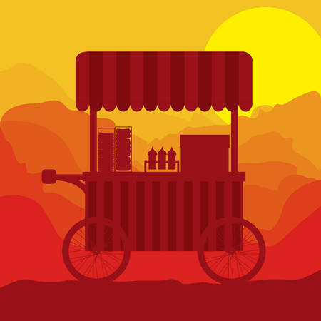 sunset background hot dogs food truck vector illustration Illustration