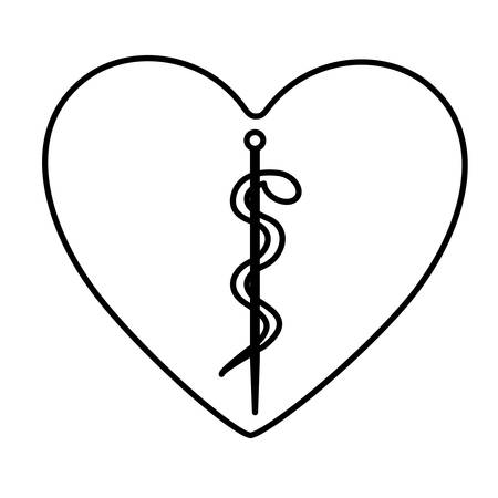 monochrome contour of heart with health symbol with serpent entwined vector illustration