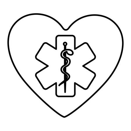 aesculapius: monochrome contour of heart with health symbol with star of life vector illustration Vectores