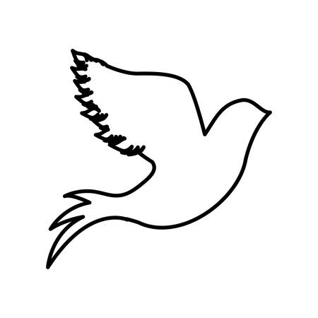 monochrome contour with dove flying vector illustration