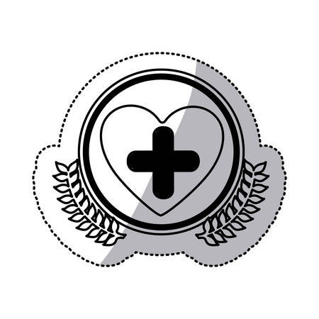 cardiograph: monochrome sticker with circle with olive branchs and symbol cross in heart vector illustration