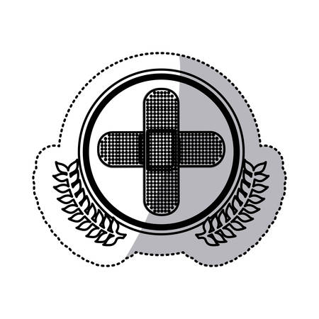 monochrome sticker with circle with olive branchs and bandage in cross form vector illustration
