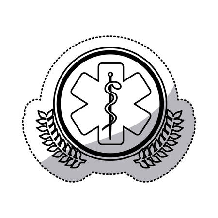 esculapio: monochrome sticker with circle with olive branchs and health symbol with star of life vector illustration