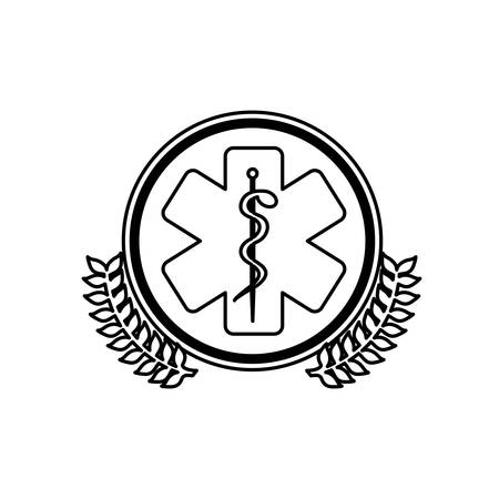 monochrome circle with olive branchs and health symbol with star of life vector illustration Illustration