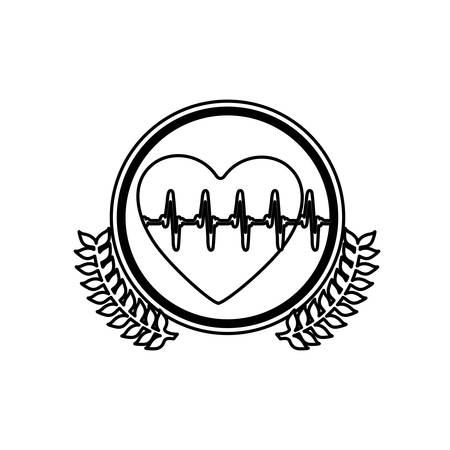 systole: monochrome circle with olive branchs and heart with line vital sign vector illustration Illustration