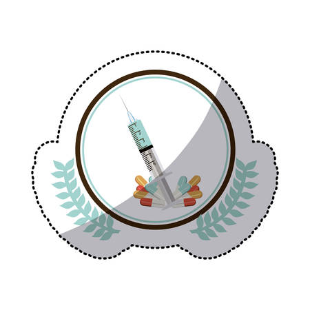color sticker with syringe in circle with olive branchs vector illustration
