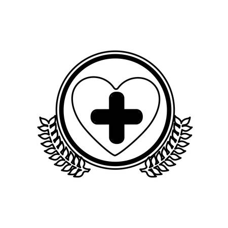 systole: monochrome circle with olive branchs and symbol cross in heart vector illustration Illustration