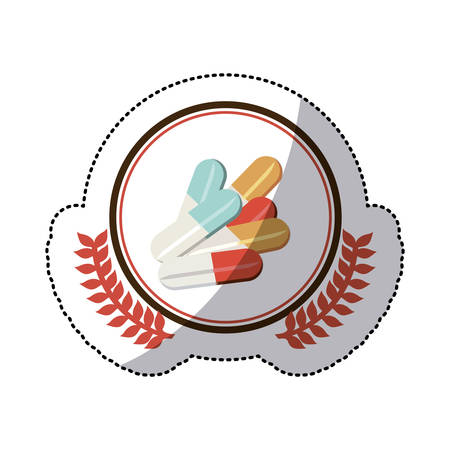 granule: colorful sticker with pills in circle with olive branchs . Vector illustration