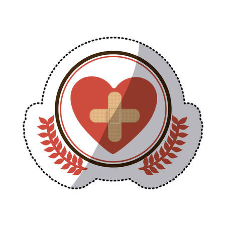 systole: color sticker with circle with olive branchs and symbol cross in heart vector illustration