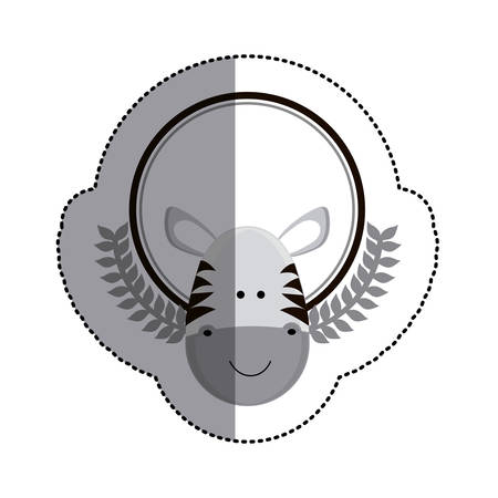 grayscale sticker circle with zebra head and olive branchs and middle shadow vector illustration Illustration
