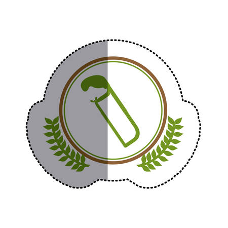 color sticker circle with hacksaw and olive branchs and middle shadow vector illustration