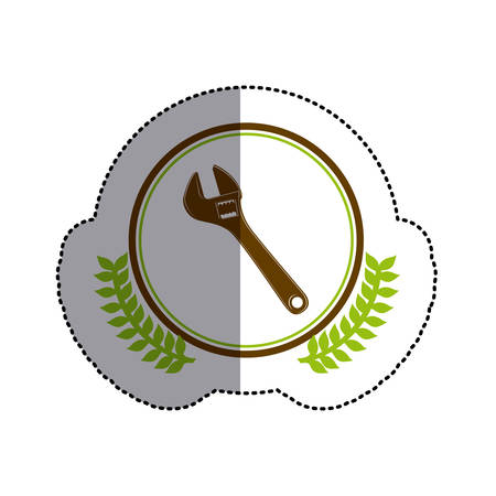 color sticker circle with wrench and olive branchs and middle shadow vector illustration Illustration