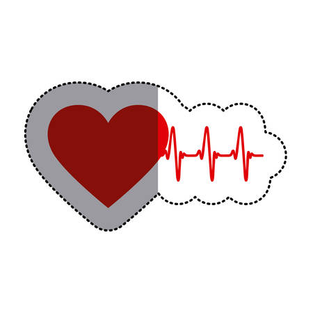heart beats: color sticker with heart and line of vital sign and middle shadow