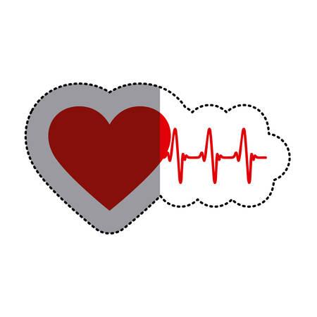 electrocardiograma: pegatina de color con el corazón y la línea de los signos vitales y la sombra media Vectores