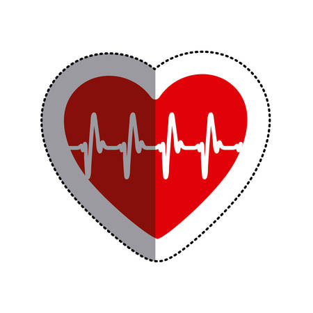 cardiograph: color sticker heart with line of vital sign and middle shadow vector illustration