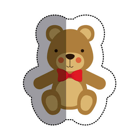 color sticker with teddy bear with bow tie and middle shadow